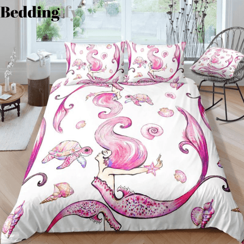 Image of Pink Turtle and Mermaid Bedding Set - Beddingify
