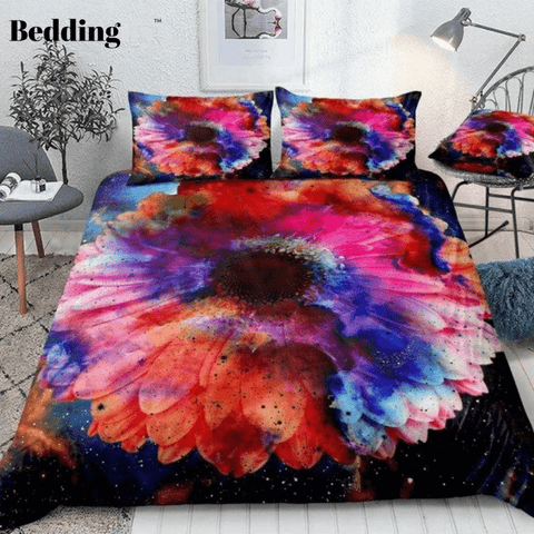 Image of Colorful Galaxy with Flower Bedding Set - Beddingify