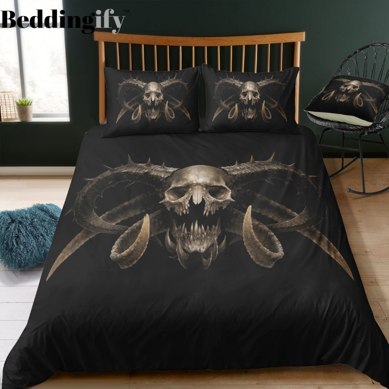 """Ayakashi"" Skull Bedding Set - Beddingify"