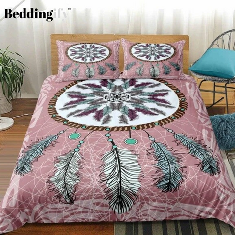 Boho Colored Feathers Dreamcatcher Bedding Set - Beddingify