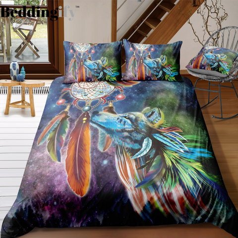 Tribal Dreamcatcher Wolf Bedding Set