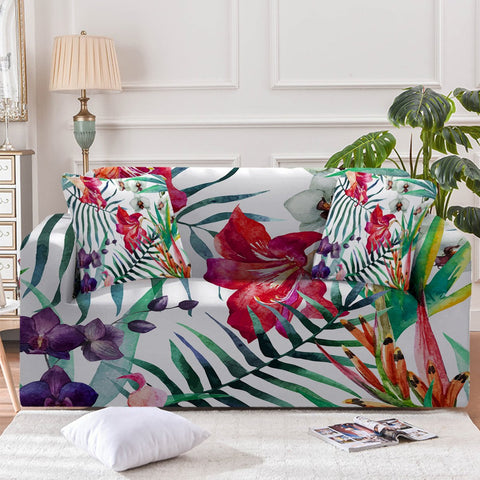 Image of Tropical Floral Sofa Cover - Beddingify