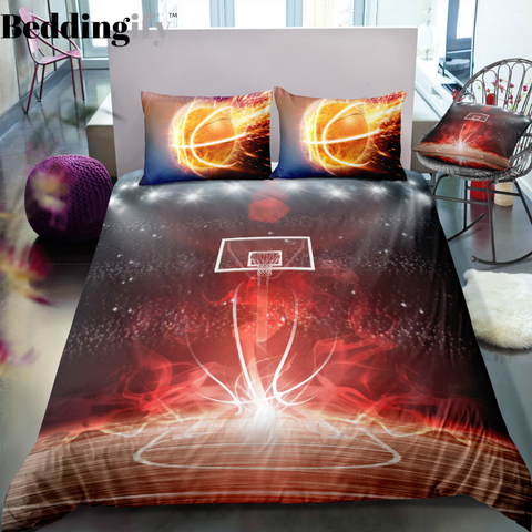 Image of Flame Basketball Field Bedding Set - Beddingify
