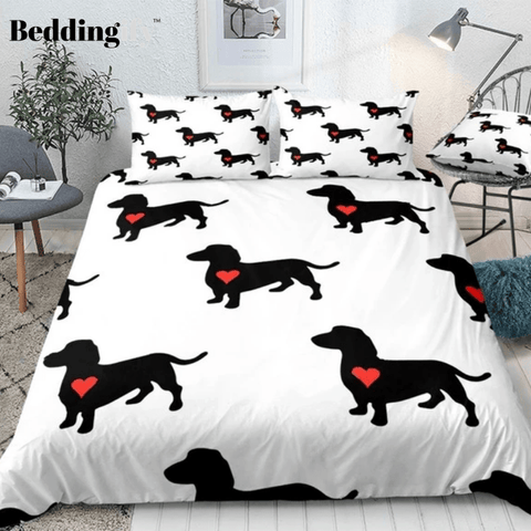 Image of Sausage Dogs with Red Heart Bedding Set - Beddingify