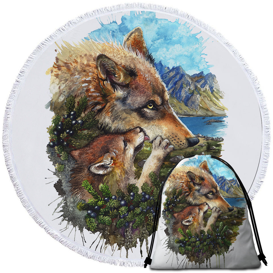 Wolf Family Round Beach Towel Set - Beddingify