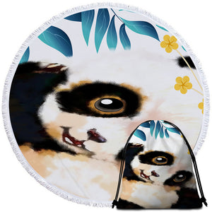 Cute Panda Cub Round Beach Towel Set - Beddingify