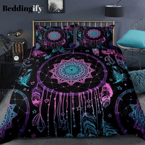 Image of Purple Dreamcatcher Boho Feathers Bedding Set - Beddingify