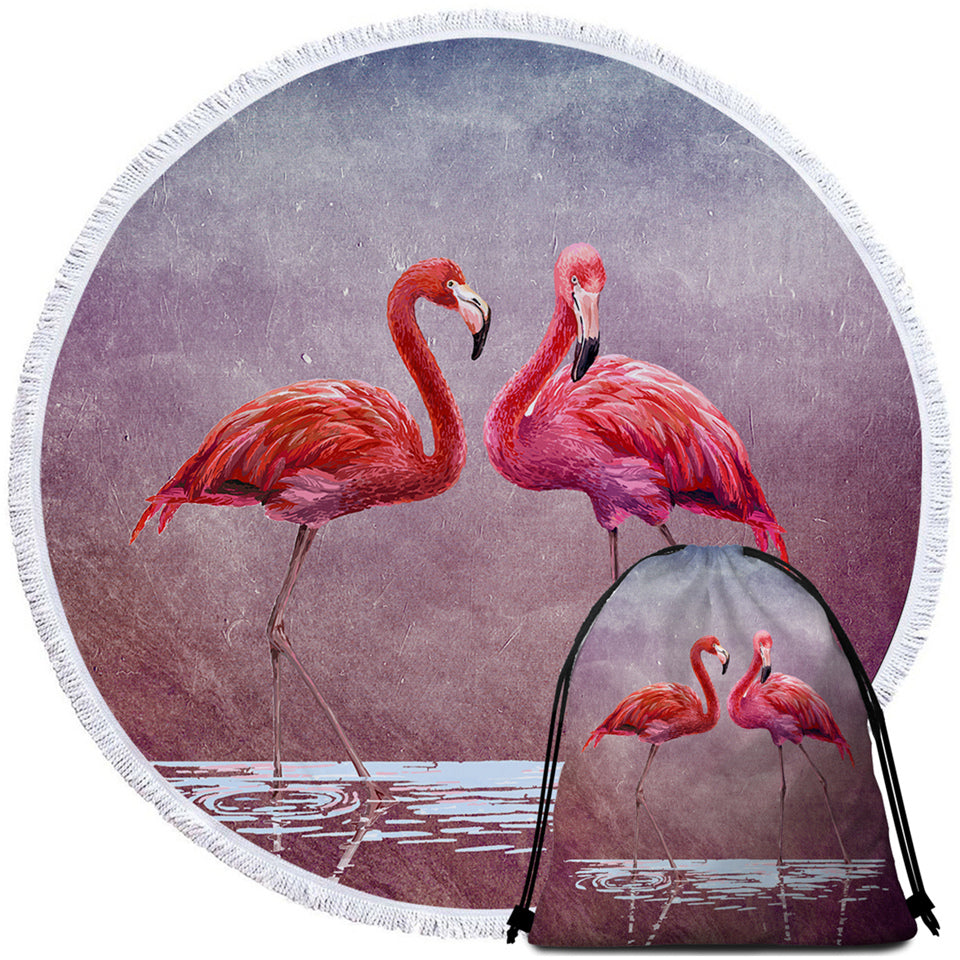 3D Flamingo Couple Round Beach Towel Set - Beddingify