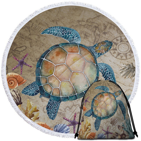 Image of Sea Turtle Round Beach Towel Set - Beddingify