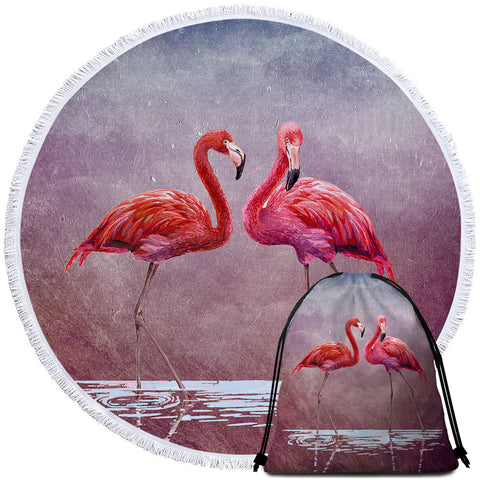 Image of 3D Flamingo Couple Round Beach Towel Set - Beddingify
