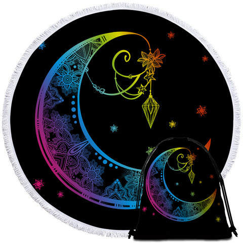 Image of Stylized Moon Starry Round Beach Towel Set - Beddingify