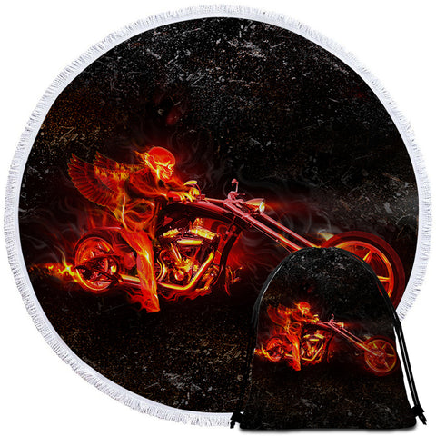 Image of Ghost Rider Round Beach Towel Set - Beddingify