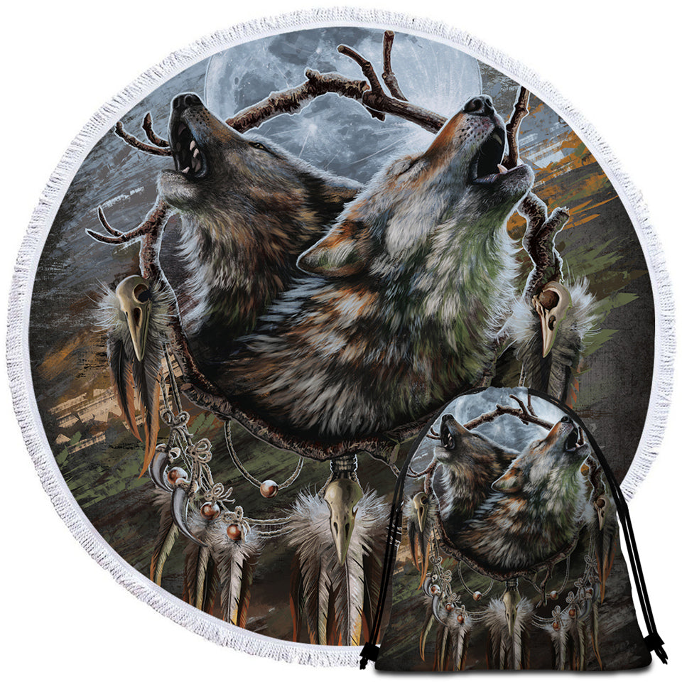 Wolfhowl Round Beach Towel Set