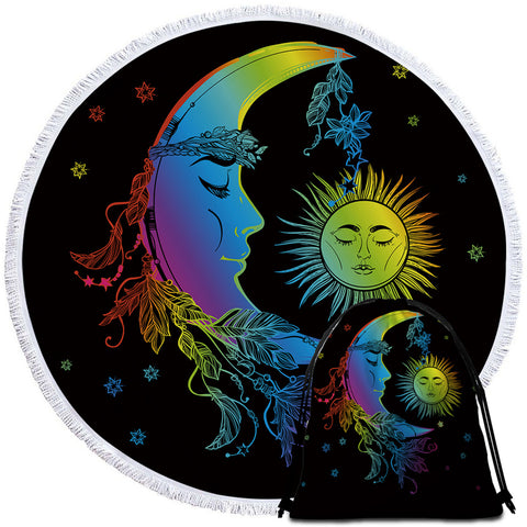 Image of Sleepy Sun & Moon Round Beach Towel Set - Beddingify