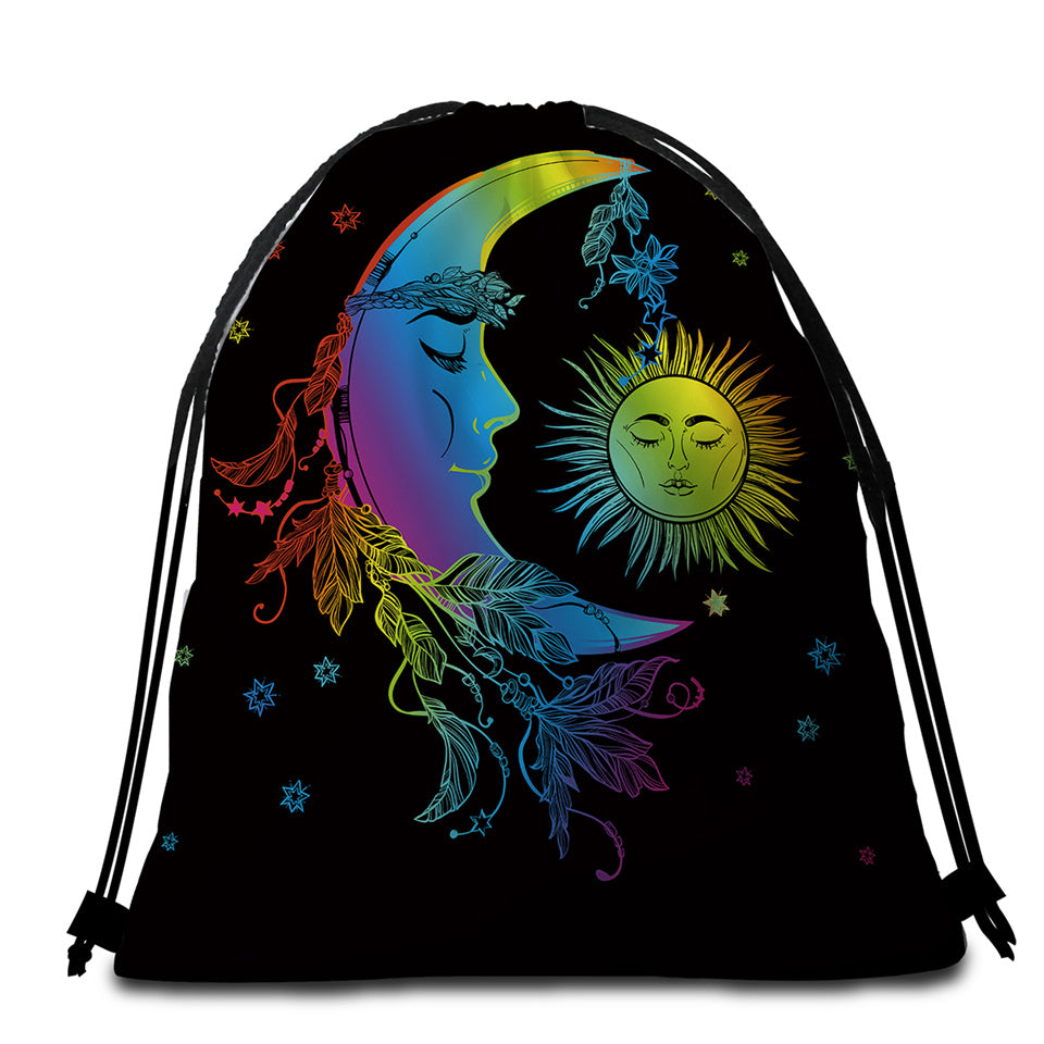Sleepy Sun & Moon Round Beach Towel Set - Beddingify