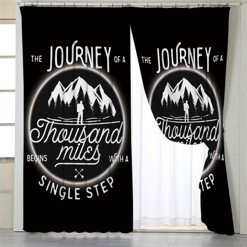 Travel Quote Black 2 Panel Curtains