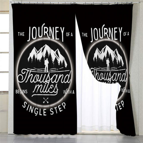 Image of Travel Quote Black 2 Panel Curtains