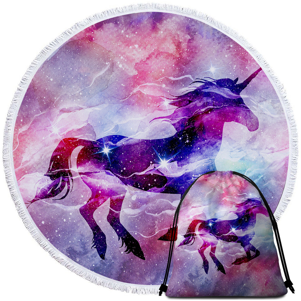 Nebula Unicorn Round Beach Towel Set - Beddingify