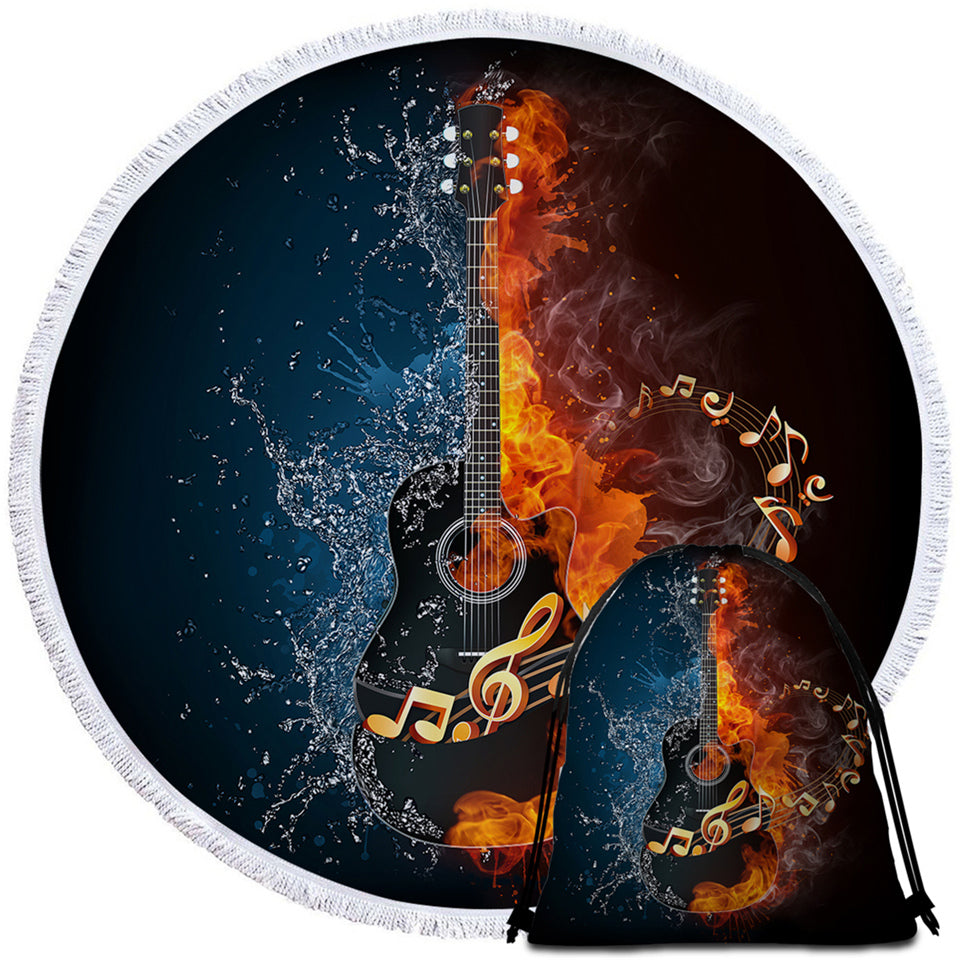 Contrast Black Rock Guitar Round Beach Towel Set - Beddingify