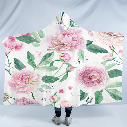 Image of Pink Roses SW2398 Hooded Blanket