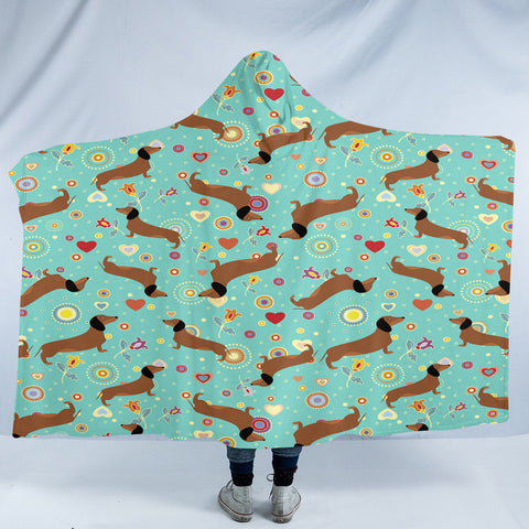 Image of Dachshund Patterns SW2489 Hooded Blanket