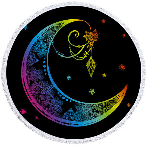 Stylized Moon Starry Round Beach Towel Set - Beddingify