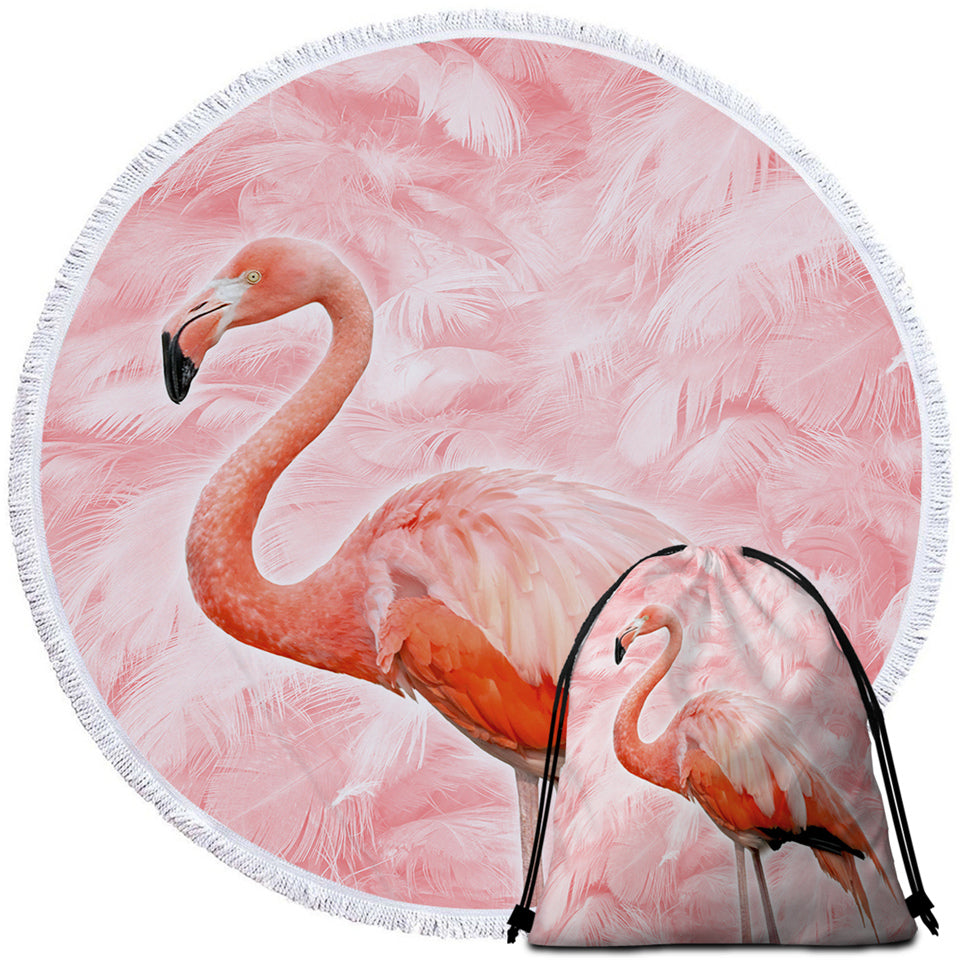 Flamingo Feathery Round Beach Towel Set - Beddingify