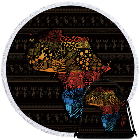 Image of African Continent Textile Round Beach Towel Set - Beddingify