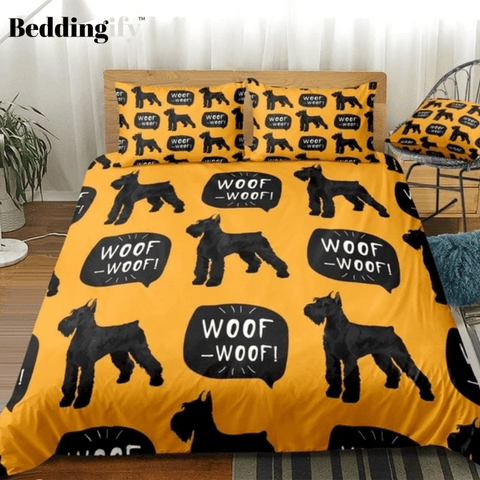Image of Black Schnauzer Woof Bedding Set - Beddingify