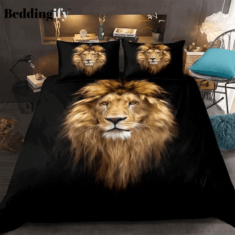 Wild Lion Pattern Bedding Set - Beddingify