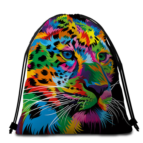 Image of Multicolored Leopard Black Round Beach Towel Set - Beddingify