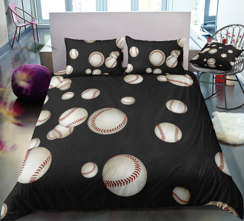 Image of Black Baseballs Bedding Set - Beddingify