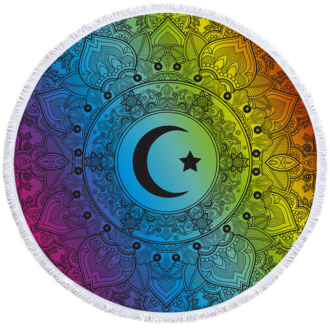 Image of Sun & Moon Mandala Round Beach Towel Set - Beddingify