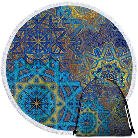 Image of Blue Wheels Glided Round Beach Towel Set - Beddingify