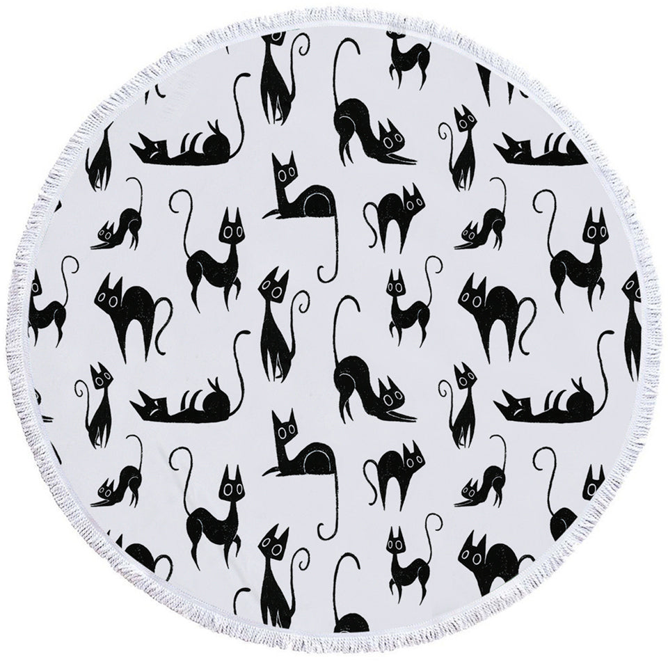 A Cat's Thing Round Beach Towel Set - Beddingify