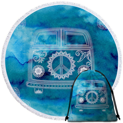 Image of Peace Bus Aqua Round Beach Towel Set - Beddingify