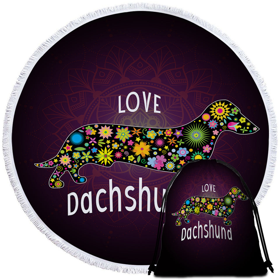 Love Dachshund Round Beach Towel Set - Beddingify