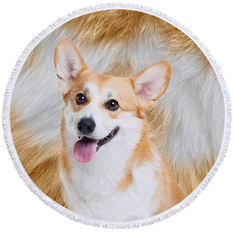 Image of 3D Corgi Furry Round Beach Towel Set - Beddingify