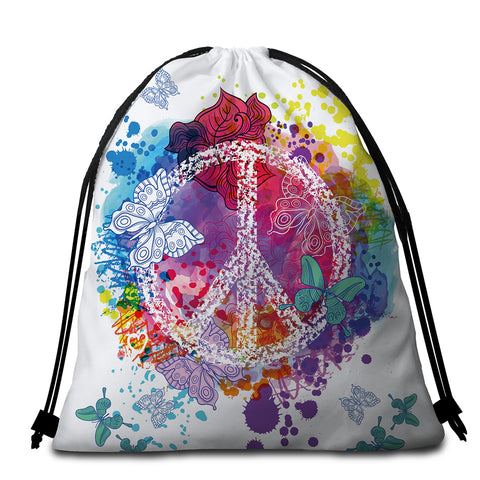 Image of Peace Butterflies Colorful Round Beach Towel Set - Beddingify