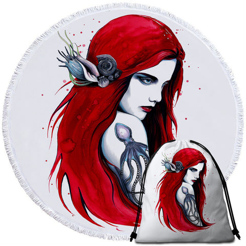 Image of Cold Mermaid Round Beach Towel Set - Beddingify
