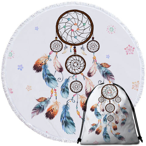 Image of Spiral Dreamcatcher White Round Beach Towel Set