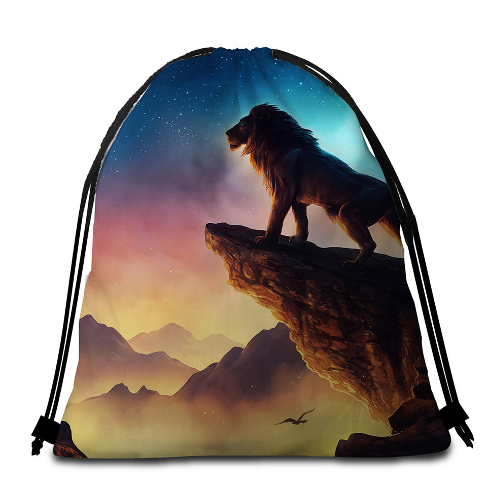 Lion King Round Beach Towel Set - Beddingify