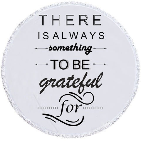 Image of Grateful Quote Round Beach Towel Set - Beddingify