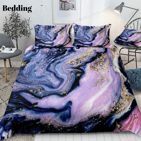 Purple Gold Luxury Marble Bedding Set - Beddingify