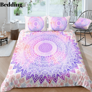 Light Purple Flowers Mandala Pattern Bedding Set - Beddingify