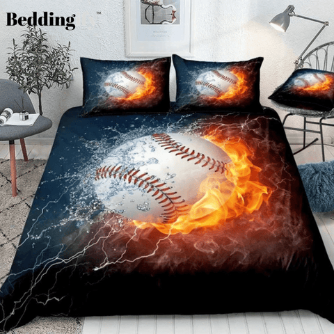 Image of Baseball on Fire and Water Lightning Bedding Set - Beddingify