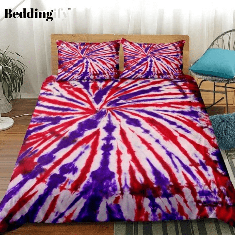 Red Blue Tie-dyed Bedding Set - Beddingify