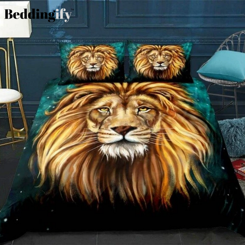 Image of Gold Lion Head Bedding Set - Beddingify
