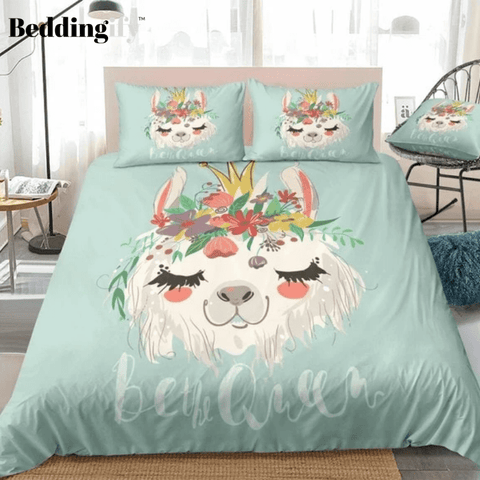 Image of Llama With Flower Bedding Set - Beddingify
