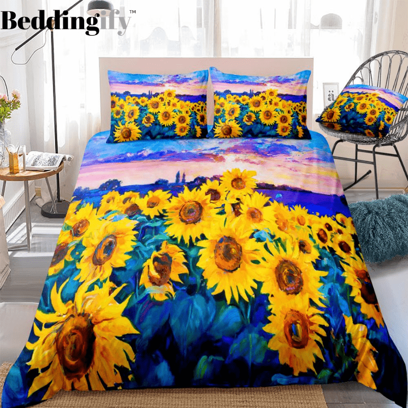 Oil Painting Sunflowers Bedding Set - Beddingify